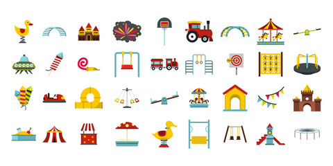 Kid amusement icon set, flat style