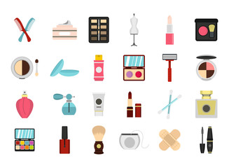 Beauty element icon set, flat style