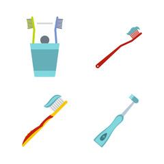 Toothbrush icon set, flat style