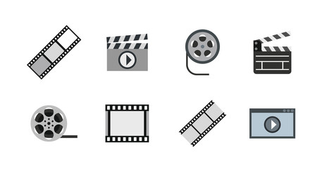 Video file icon set, flat style