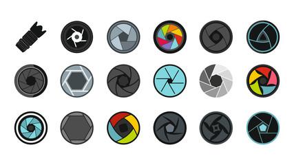 Shutter icon set, flat style