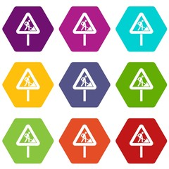 Road works sign icon set color hexahedron