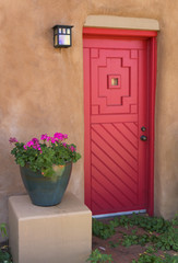 Southwest Style Red, Wood Door with Orange Clay Exterior