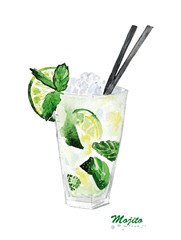 Watercolor lime ice mint cocktail Mojito.