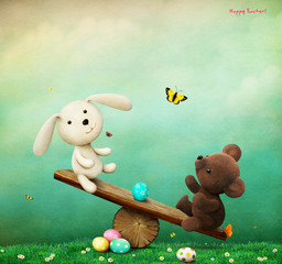 Holiday greeting card or poster for  Easter with Bunny and Bear on  swing ride Easter Egg