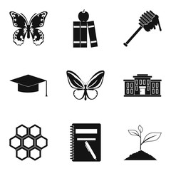 Beetle icons set, simple style