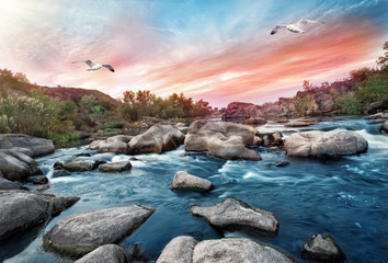 Poster Groen blauw Waterfall on mountain river with seagulls