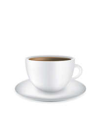 White coffee cup on white background, vector