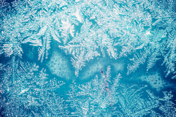 Frost on window. Nature background