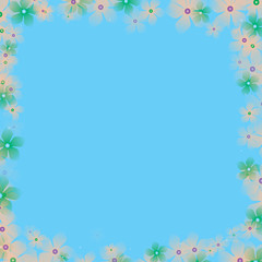 frame from flowers with light blue background