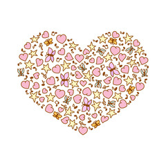 Vector illustration of cartoon heart from pink heart, notes, stars and butterflies