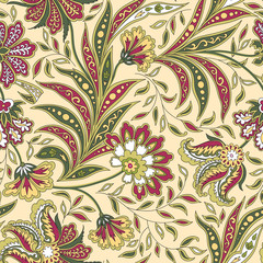 Floral leaf and flower seamless pattern. Abstract oriental floral background