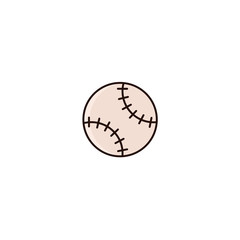 Baseball ball flat color line icon on isolated background.