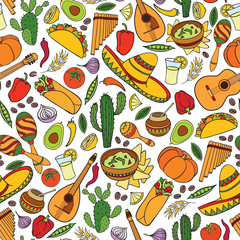 Mexican food and musical instruments seamless pattern. Travel Mexico background