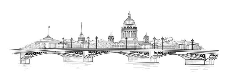 Saint-Petersburg city, Russia. St. Isaac's cathedral skyline. Building landmark, bridge