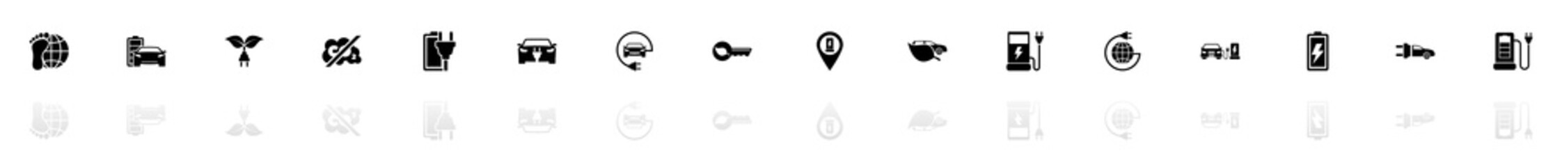 Electro Car icons - Black horizontal Illustration symbol on White Background with a mirror Shadow reflection. Flat Vector Icon.
