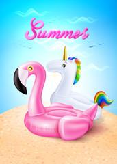 Vector flamingo, unicorn inflatable ring on beach
