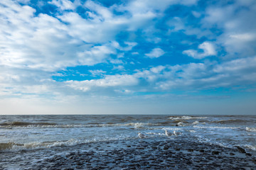 North Sea Waves with Seagulls And Blue Sky At Petten Aan Zee Netherlands
