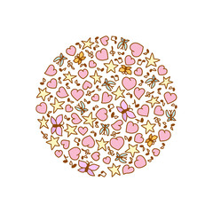Vector illustration of cartoon round from pink heart, notes, stars and butterflies