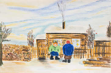 Winter rural landscape with two women near a wooden house