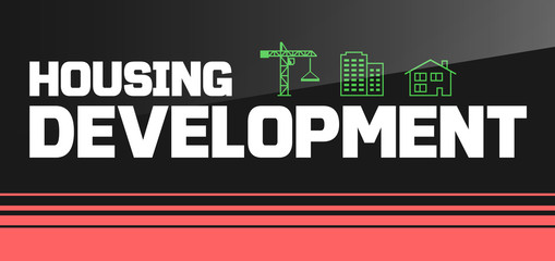 Banner or flyer design with housing development icons