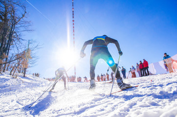 Cross country skier in white bright snow track, race sport photo
