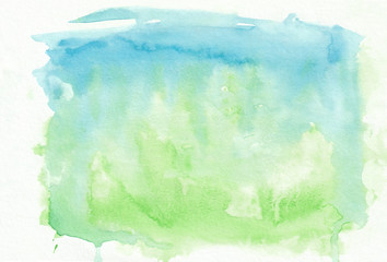 Green and blue mixed watercolour horizontal gradient background. It's useful for greeting cards, valentines, letters. Abstract art style handicraft surface