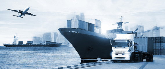 Transportation, import-export and logistics concept, container truck, ship in port and freight cargo plane in transport and import-export commercial logistic, shipping business industry - fototapety na wymiar