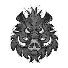 boar head sketch vector illustration