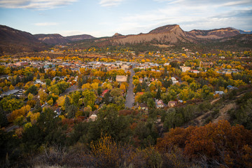 Landscape view of Durango, Colorado during autumn.