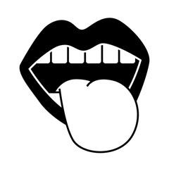 mouth tongue out vintage emblem