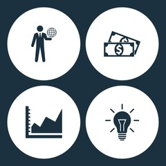 Vector Illustration Set Business Icons. Elements Globe on the hand, Money, Graph and Bulb icon