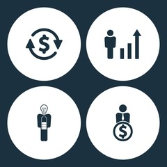 Vector Illustration Set Business Icons. Elements money convert, Human figures as a growing graph, Businessman in low power and User with dollar icon