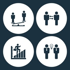 Vector Illustration Set Business Icons. Elements businessman on the libra, Business communication, man walk on graph and Businessman meeting vector icon