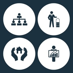 Vector Illustration Set Business Icons. Elements Company structure, Businessman in low power, House in hand and Figure Holding diagram icon