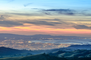 Silicon Valley Views from above. Santa Clara Valley at dusk as seen from Lick Observatory in Mount Hamilton east of San Jose, Santa Clara County, California, USA. Wall mural