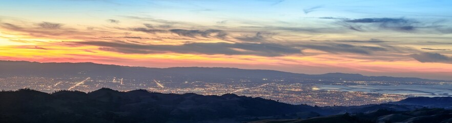 Silicon Valley Panorama. Santa Clara Valley at dusk as seen from Lick Observatory in Mount Hamilton east of San Jose, Santa Clara County, California, USA.