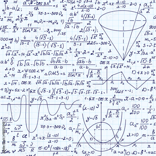 Mathematical vector seamless pattern with formulas, plots and ...