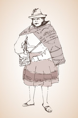 Peruanian woman in national cloth. Sketch.