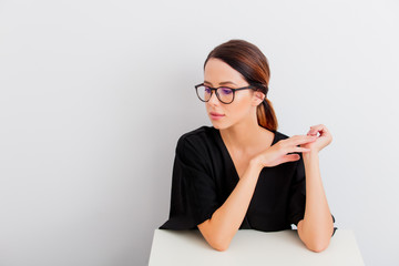 portrait of woman in lagom style with black eyeglasses