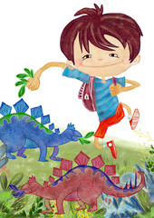 Boy in Dinopark. Watercolor illustration, isolated on white
