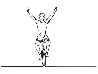 Continuous line drawing. Man cyclist winner in competition on bicycle. Drawn by hand. Icon, vector illustration, picture, tattoo