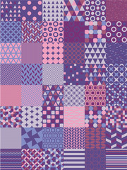 Ultra Violet Vector Seamless Pattern Set. Simple geometric shapes patterns collection.