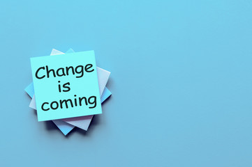 CHANGE IS COMING - motivation note at blue background with empty space for text, template and mockup