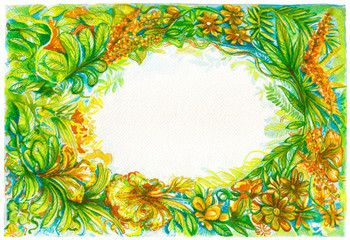 Background frame flora or rainforest of nice nature water color painting