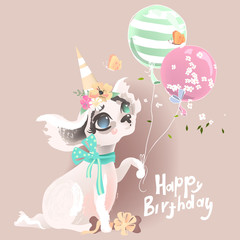 Cute baby dog, puppy. Adorable little girl princess dog in birthday hat with balloons, flowers, bone, butterflies and tied bow. Happy Birthday lettering