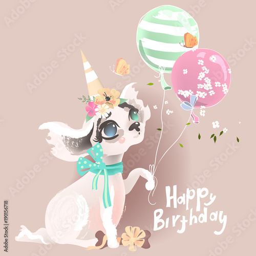 Cute Baby Dog Puppy Adorable Little Girl Princess In Birthday Hat With Balloons