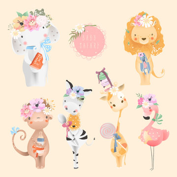Safari baby animals collection. Elephant, lion, monkey, zebra, flamingo bird and giraffe with baby accessories, floral flower bouquet and tied bows