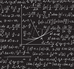 Mathematics vector seamless pattern with handwritten mathematical formulas, calculations, plots, figures, equations