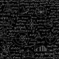 Endless mathematical vector seamless pattern with geometrical figures, plots and equations, handwritten with chalk on a blackboard